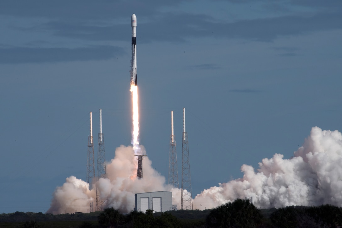 A Falcon 9 rocket launches at Cape Canaveral Air Force Station