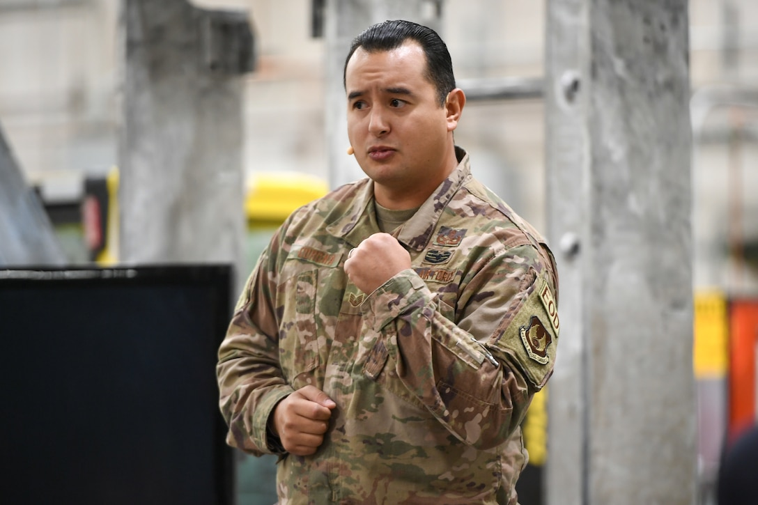 Staff Sgt. Guadalupe Corona, 775th Civil Engineer Squadron Explosive Ordnance Disposal Flight, speaks at the TEDx salon event held at Hill Air Force Base, Utah, Oct. 17, 2019. Corona relayed his challenging experiences as an EOD technician and how he knew when to take ownership of his mental wellness breaking the mold and the stigma. (U.S. Air Force photo by Cynthia Griggs)
