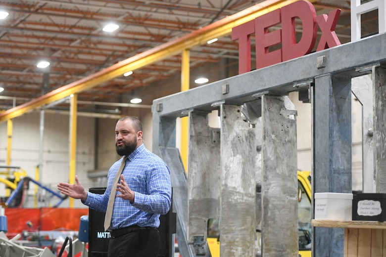 Matt Posey, security chief for Ground Based Strategic Deterrent, speaks at the TEDx salon event held at Hill Air Force Base, Utah, Oct. 17, 2019. Posey's talk urged civil servants to strive for excellence and to give more than expected. (U.S. Air Force photo by Cynthia Griggs)