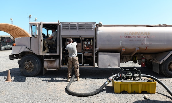 U.S. Air Force Tech. Sgt. James Hopper, left, 726th Expeditionary Air Base Squadron Vehicle Maintenance flight chief, and Staff Sgt. Jared Agey, 726th EABS Vehicle Maintenance NCO in-charge, perform a meter calibration on an R11 refueling truck at Chabelley Airfield, Djibouti, Nov. 8, 2019. Along with refuelers, the 726th EABS Vehicle Maintenance team members sustain a fleet of passenger vehicles, forklifts, ambulances, cranes and many other types of equipment. (U.S. Air Force photo by Staff Sgt. Alex Fox Echols III)