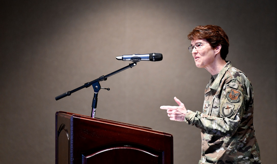 Lt. Gen. Jacqueline Van Ovost, Director of Staff, Headquarters Air Force, provides remarks during the inaugural Air Force Materiel Command Women's Leadership Symposium, Nov. 13-14. The two-day event drew more than 250 attendees from across the command, with keynote speakers, issue-focused panels and collaborative networking discussions designed to empower women to help foster workplace environments that embrace diversity and promote leadership growth throughout the organization.