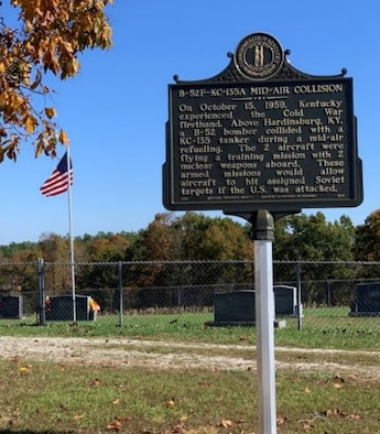 The roadside marker commemorating a crash from 1959. During this time the U.S. was in the competitive Cold War with the Soviet Union to be the indomitable force of nuclear power; and as part of the feud, Columbus Air Force Base, Mississippi, fed the fight by flying bombing missions as the 4228th Strategic Wing. On Oct. 15, 1959, eight Airmen assigned to Columbus AFB paid the ultimate price on one of their missions. (Courtesy photo)