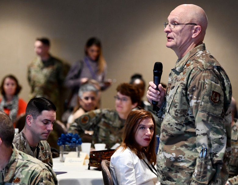 Gen. Arnold W. Bunch, Jr., Air Force Materiel Command Commander, provides opening remarks during the inaugural Air Force Materiel Command Women's Leadership Symposium, Nov. 13. The two-day event drew more than 250 attendees from across the command, with keynote speakers, issue-focused panels and collaborative networking discussions designed to empower women to help foster workplace environments that embrace diversity and promote leadership growth throughout the organization.