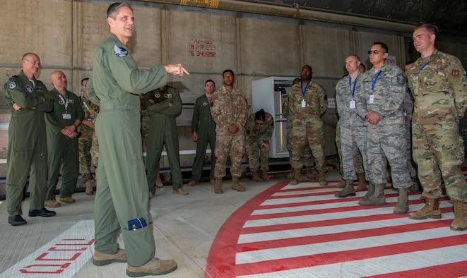 U.S. Air Force Lt. Gen. Steven Basham, U.S. Air Forces in Europe-Air Forces Africa Deputy Commander, Ramstein Air Base, Germany, left, speaks with members of the 52nd Fighter Wing during Blue Flag 2019 at Uvda Air Base, Israel, November 12, 2019. Approximately 250 service members from the 52nd FW deployed to Israel to participate in the training exercise. (U.S. Air Force photo by Airman 1st Class Kyle Cope)