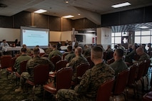 Senior Marine Corps leaders participated in a cultural awareness presentation on Marine Corps Air Station Futenma, Nov. 13, 2019. The presentation gave an opportunity for the leaders to have discussions with Japanese and U.S. subject matter experts specializing in Asian and Security Affairs. The topics discussed included: Japanese National Security Policy, the Japan - U.S. alliance, joint use of military facilities in Okinawa, understanding the regional threat, United States Forces Japan and the current status of forces issues. (U.S. Marine Corps photo by Lance Cpl. Karis Mattingly)