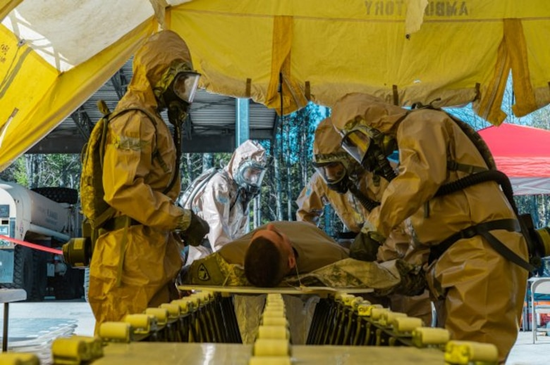 A decontamination team with the New England CERFP practices decontamination of a simulated casualty during their Nov. 5-7 training in Brunswick, Maine. (Photo Credit: Spc. Darin Douin)