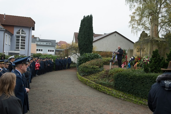 Ralf Hechler, Ramstein-Miesenbach mayor, speaks to various citizens and NATO representatives during the town's annual National Day of Mourning Ceremony, Nov. 17, 2019. The National Day of Mourning is a German holiday where citizens mourn victims of war. THe National Day of Mourning has been around since 1922. The day was dedicated to the victims of World War I. The National Day of Mourning is categorized as a silent day (Stiller Tag).