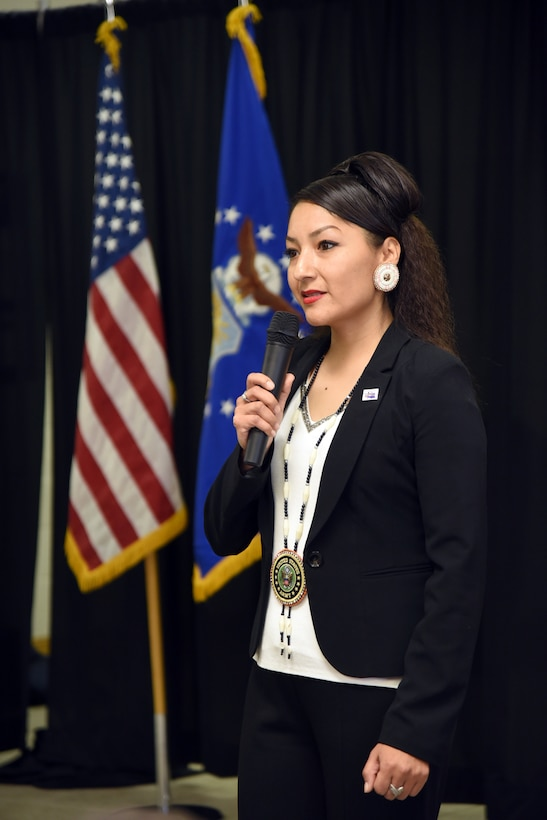 An image of guest speaker Lena Nells from the Tinker Inter-Tribal Council luncheon.