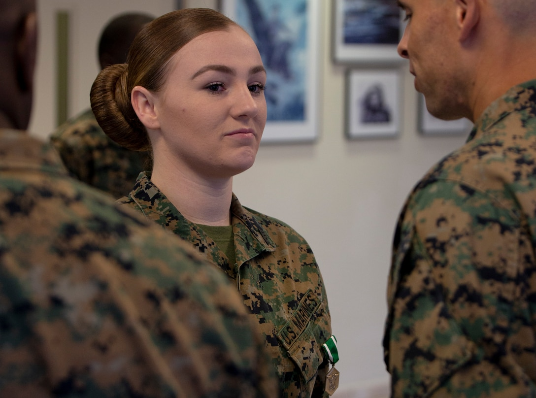Three Marines receive The Navy & Marine Corps Commendation Medal Wednesday, November 13, 2019. NCM is a decoration presented by the United States Department of the Navy to service members of the U.S. Navy and Marine Corps who have performed an exceedingly heroic act, exceptional achievement, or commendable service that has not been recognized by a higher award