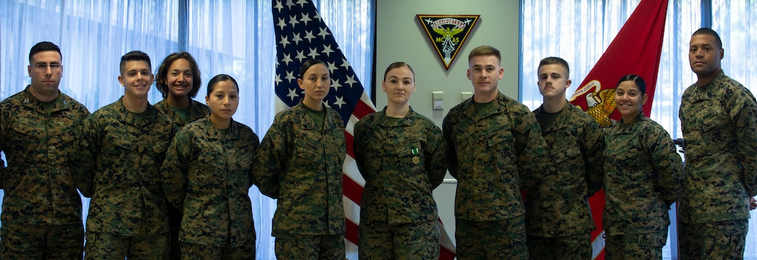 Three Marines receive The Navy & Marine Corps Commendation Medal Wednesday, November 13, 2019. NCM is a decoration presented by the United States Department of the Navy to service members of the U.S. Navy and Marine Corps who have performed an exceedingly heroic act, exceptional achievement, or commendable service that has not been recognized by a higher award.