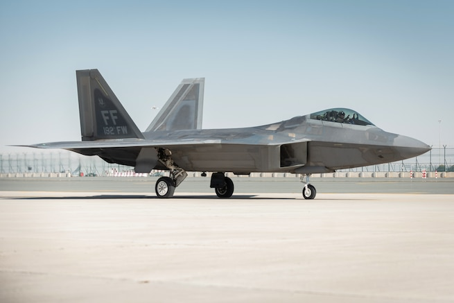 U.S. Air Force Lt. Col. Paul Lopez, F-22 Raptor Demonstration Team commander arrives at the Dubai Air Show, United Arab Emirates, Nov. 14, 2019. United States military participation in the DAS provides opportunity to strengthen our military-to-military relationships with regional partners. (U.S. Air Force photo by 2nd Lt. Sam Eckholm).
