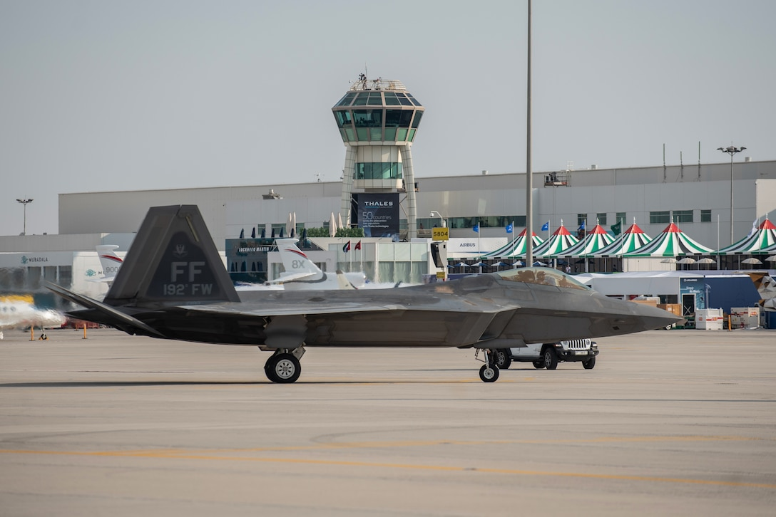A U.S. Air Force F-22 Raptor arrives at the Dubai Air Show, United Arab Emirates, Nov. 14, 2019. United States military participation in the DAS provides opportunity to strengthen our military-to-military relationships with regional partners. (U.S. Air Force photo by 2nd Lt. Sam Eckholm).