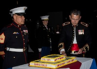 U.S. Marine Corps Colonel William C. Gray, commanding officer of 6th Marine Corps District, cuts the Marine Corps' birthday cake during the 6th Marine Corps District's 244th Marine Corps Ball at the Hyatt Regency Savannah, Georgia, Nov. 15, 2019. The Marines, Sailors and their families celebrated the Marine Corps' Birthday to increase morale and foster camaraderie throughout the District. The District's Headquarters supports the recruiting efforts within the Southeastern United States. (U.S. Marine Corps photo by Staff Sgt. Jesse R. Stence)