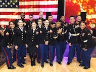 On 7 November 2019, Marines of 9th Communication Battalion celebrate the Marine Corps 244th Birthday at the Pala Casino & Resort. Marine Corps Ball Guest of Honor MajGen Crall enters the ballroom with Commanding Officer LtCol Stepp to conduct the Birthday Ball ceremony.