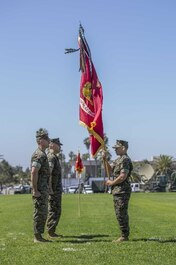 On 2 July 2019, LtCol Bryan A. Eovito relinquishes command to LtCol Kevin J. Stepp. The Marines of 9th Communication Battalion conduct a ceremony, close order drill, and a pass and review at Paige FieldHouse, formalizing the relinquishment of command.