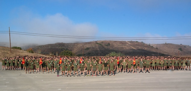 On 7 November 2019, the Marines of 9th Communication Battalion conduct a motivated Marine Corps Birthday Run through the hills of Camp Pendleton with Marine Corps Ball Guest of Honor MajGen Crall.