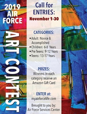 The contest, part of the Air Force's arts and crafts program managed by AFSVC, runs through Nov. 30, and is open to all authorized patrons of Air Force morale, welfare and recreation programs.