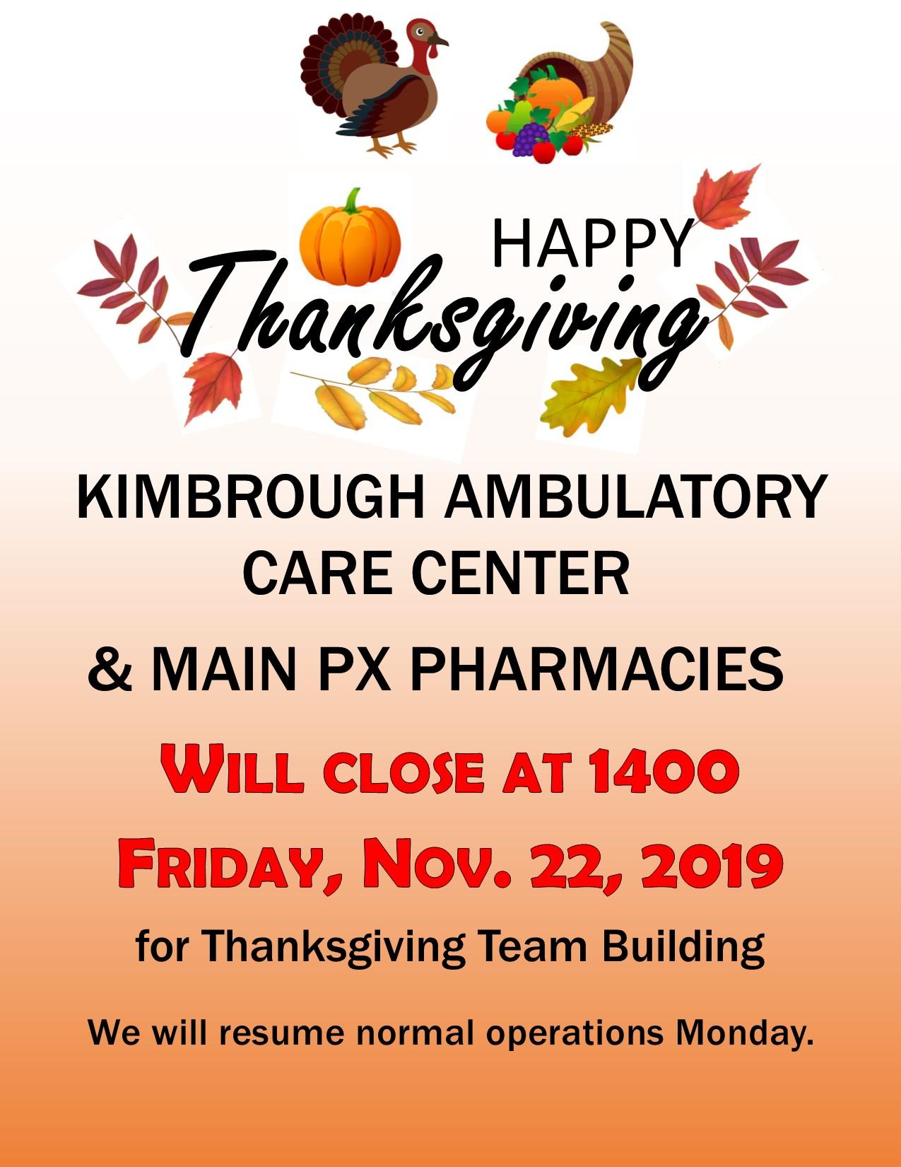 Early Closure Friday 22 Nov Thanksgiving Team Building