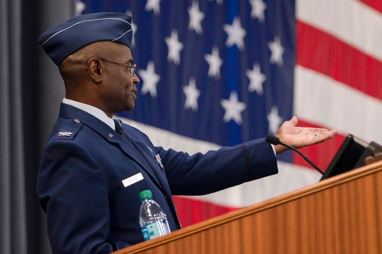 Photo of Col. Dennis Britten speaking at during his change of command ceremony.