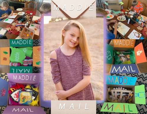 A photo collage shows Maddie Moore, the daughter of U.S. Air Force 2nd. Lt. Tyler Moore, 366th Security Forces Squadron logistics and readiness officer in charge at Mountain Home Air Force Base, Idaho, surrounded by Maddie Mail. Maddie suffers from bi-thalamic glioma, an extremely rare and fatal brain cancer which has left her with a terminal prognosis. Maddie Mail are custom-tailored gifts made by local Airmen meant to allow families in similar situations to share a special memory with their loved ones. (U.S. Air Force graphic by Airman 1st class Andrew Kobialka)