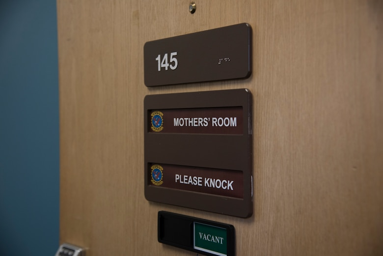"""The 726th Air Control Squadron mothers' room door is left open for ACS moms, Sept. 09, 2019, Mountain Home Air Force Base, Idaho. The addition of the """"please knock"""" and """"vacant"""" sign were added to give the mothers more privacy. (U.S. Air Force photo by Airman 1st Class Nicholas Swift)"""