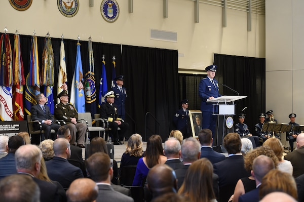 U.S. Air Force Gen. John Hyten, outgoing commander of U.S. Strategic Command (USSTRATCOM), provides remarks during USSTRATCOM's change of command ceremony at Offutt Air Force Base, Neb., Nov. 18, 2019. USSTRATCOM is a global warfighting command and the ultimate guarantor of national and allied security with forces and capability that underpin and enable all other joint force operations. (U.S. Air Force photo by Staff Sgt. Ian Hoachlander)