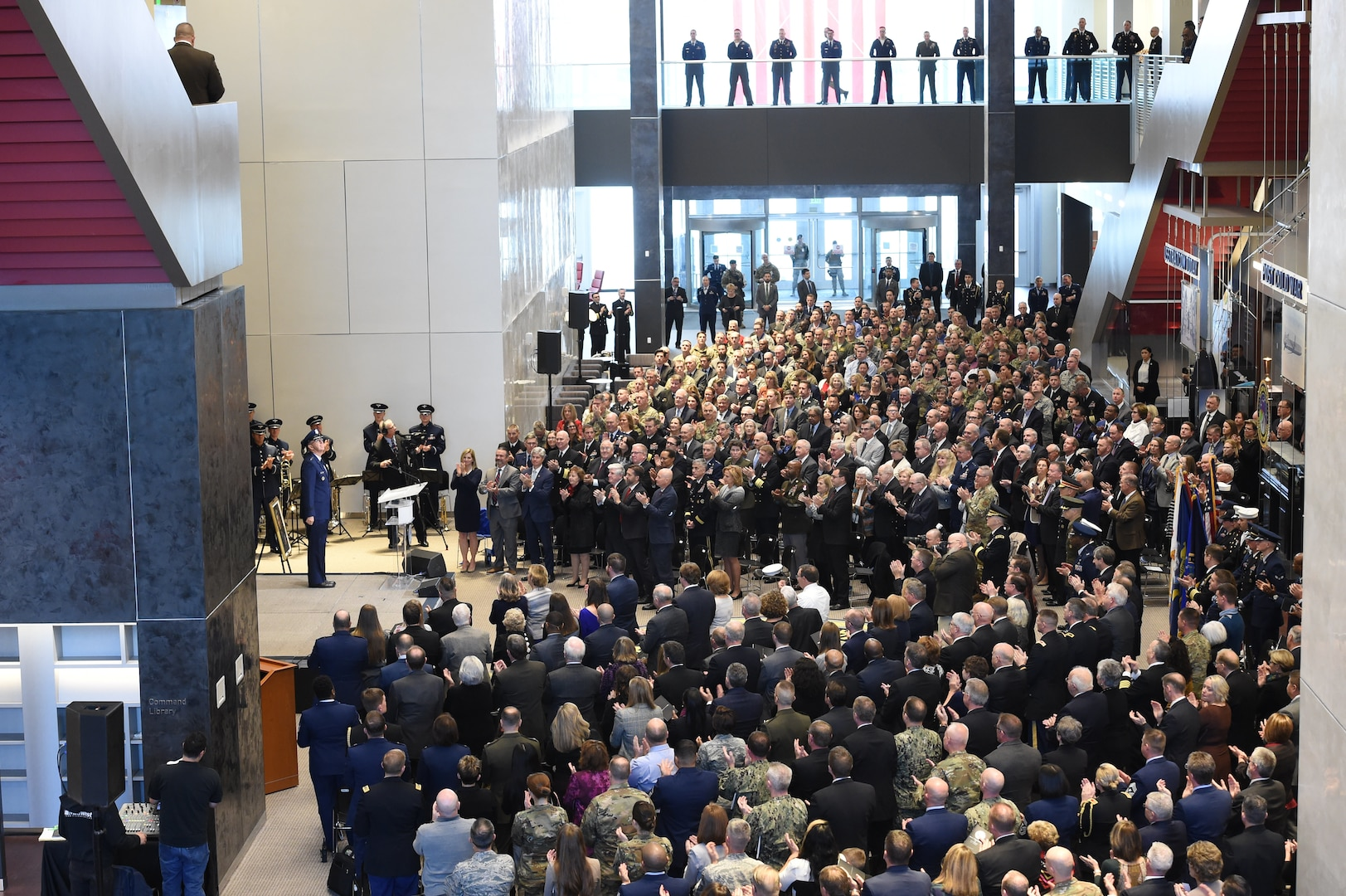 The audience gives U.S. Air Force Gen. John Hyten, outgoing commander of U.S. Strategic Command (USSTRATCOM), as standing ovation following his remarks during USSTRATCOM's change of command ceremony at Offutt Air Force Base, Neb., Nov. 18, 2019. USSTRATCOM is a global warfighting command and the ultimate guarantor of national and allied security with forces and capability that underpin and enable all other joint force operations. (U.S. Air Force photo by Staff Sgt. Ian Hoachlander)
