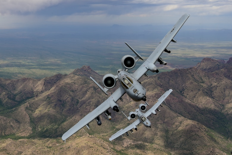 A-10 Thunderbolt II aircraft fly over Southern Arizona