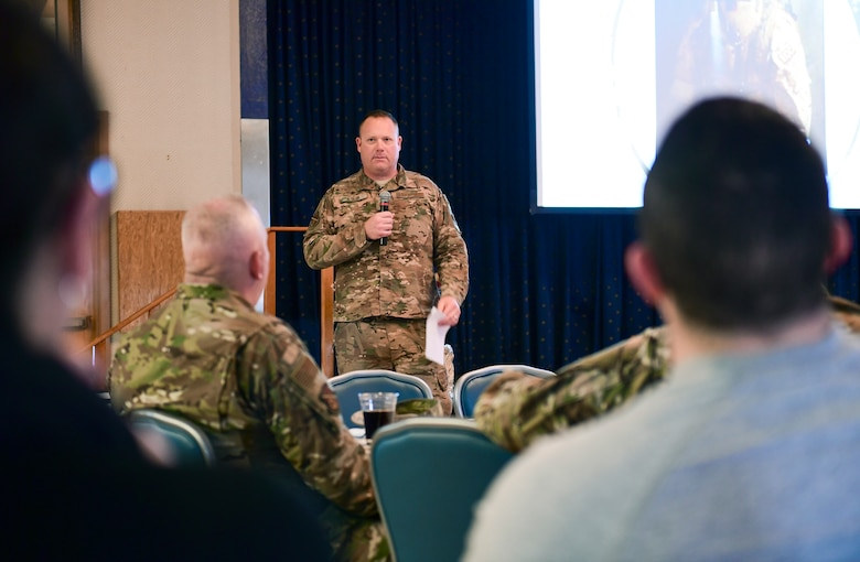 U.S. Air Force Senior Master Sgt. NAME, 377th Mission Support Group explosive ordnance disposal, tells his story of resilience during a Storytellers event at Kirtland Air Force Base, Nov. 15, 2019. The event was held to get people together and talk about resilience and hear the stories of those from around Team Kirtland. (U.S. Air Force photo by Staff Sgt. Kimberly Nagle)