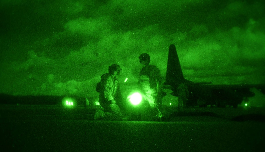 Forward Air Refueling Point Airmen assigned to the 18th Wing, Kadena Air Base, Japan, perform refueling operations on Wake Island, Wake Atoll, during Exercise Gryphon Pacific 20-1, Nov. 15, 2019. The Airmen were attached to the 353rd Special Operations Squadron during the exercise.
