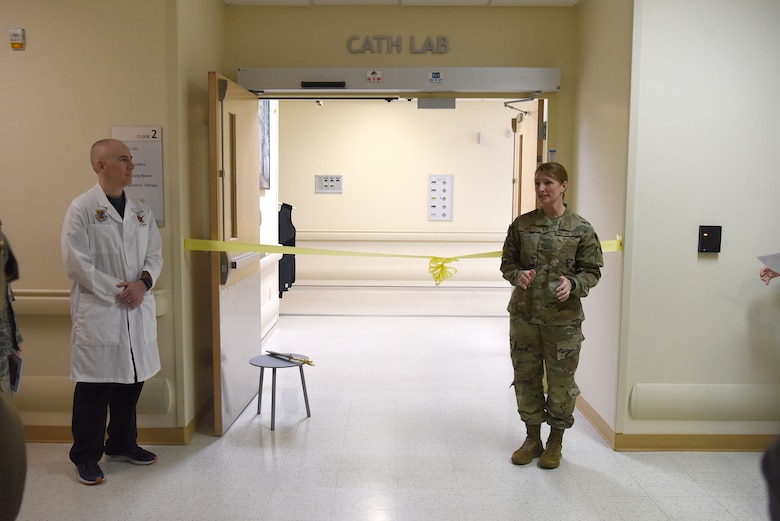 U.S. Air Force Col. Beatrice Dolihite, 81st Medical Group commander, makes remarks during the cardiac catheterization laboratory ribbon cutting ceremony inside Keesler Medical Center at Keesler Air Force Base, Mississippi, Nov. 15, 2019. The lab was upgraded with an entire suite of technology to provide better and safer care for patients and the surgical team. (U.S. Air Force photo by Senior Airman Suzie Plotnikov)