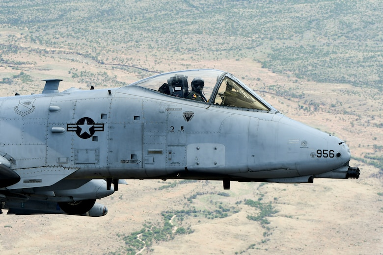 An A-10 Thunderbolt II flies over Arizona