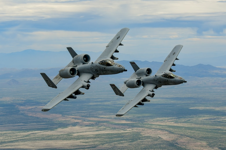 A-10 Thunderbolt II aircraft fly in formation