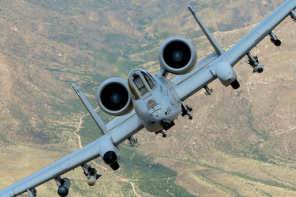 An A-10 Thunderbolt II flies over Southern Arizona