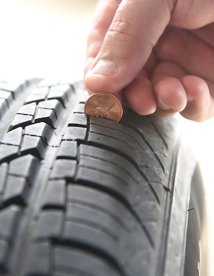 "An image depicting the ""penny test"" to check the tread of your tires."