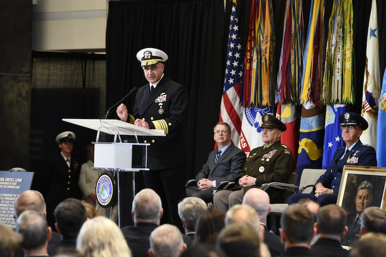 U.S. Navy Adm. Charles A. Richard, commander of U.S. Strategic Command (USSTRATCOM), provides closing remarks following USSTRATCOM's change of command ceremony at Offutt Air Force Base, Neb., Nov. 18, 2019. Richard comes to USSTRATCOM after serving as the commander of Submarine Forces; commander of Submarine Force Atlantic and commander of Allied Submarine Command at Naval Station Norfolk, Va. As a former deputy commander of USSTRATCOM, Richard understands the responsibilities of the command and its mission, as well as its role in the future for strategic deterrence. (U.S. Air Force photo by Staff Sgt. Ian Hoachlander)