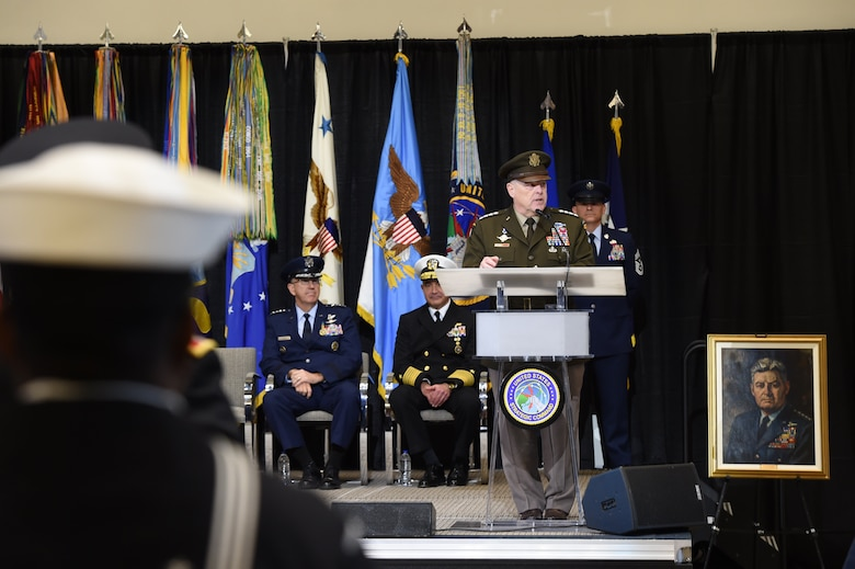 U.S. Army Gen. Mark A. Milley, chairman of the Joint Chiefs of Staff, provides remarks during USSTRATCOM's change of command ceremony at Offutt Air Force Base, Neb., Nov. 18, 2019. Milley congratulated U.S. Navy Adm. Charles A. Richard on his appointment as the new commander of USSTRATCOM. Richard comes to USSTRATCOM after serving as commander of Submarine Forces; commander of Submarine Force Atlantic and commander of Allied Submarine Command at Naval Station Norfolk, Va. (U.S. Air Force photo by Staff Sgt. Ian Hoachlander)