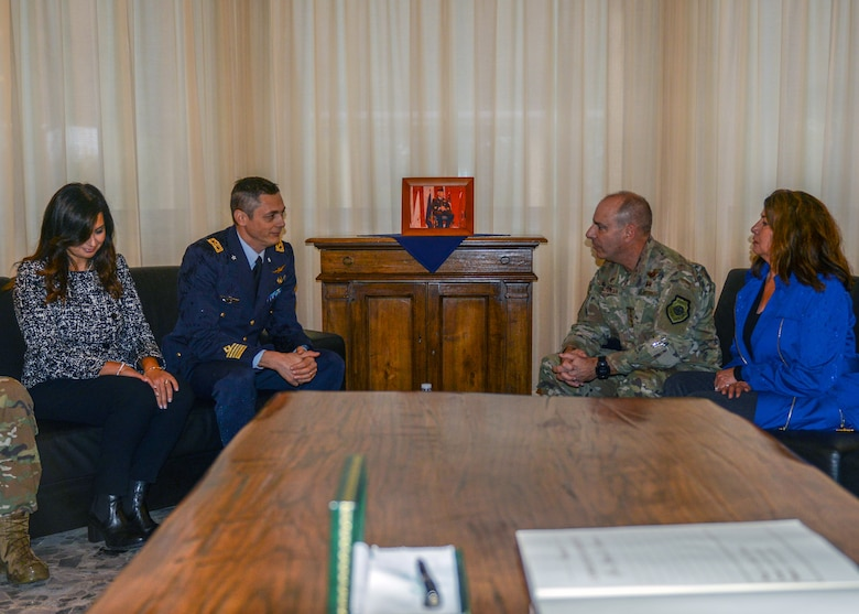 U.S. Air Force Gen. Jeffrey L. Harrigian, U.S. Air Forces in Europe and Air Forces Africa commander, talks with Italian Air Force Col. Luca Crovatti, ITAF base commander, at Aviano Air Base, Italy, Nov. 15, 2019. Harrigian has served in a variety of flying and staff assignments, including Deputy Director for Strategy, Plans and Assessments, U.S. Forces-Iraq, in support of Operation Iraqi Freedom and as Chief of the Joint Exercise Division at NATO's Joint Warfare Center, Stavanger, Norway. (U.S. Air Force photo by Airman Thomas S. Keisler IV)