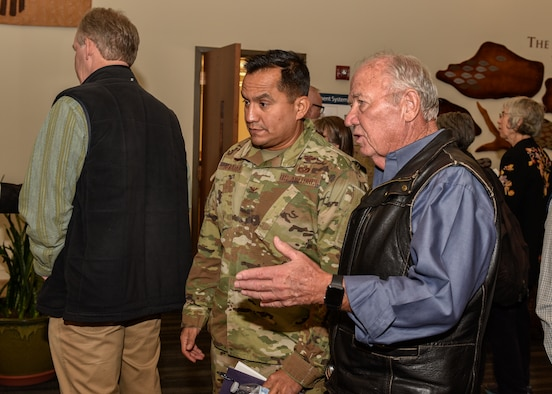 Members of the community attend the Kirtland Air Force Base fuel leak cleanup public meeting at the African American Performing Arts Center in Albuquerque, N.M., Sept. 20, 2019. The meeting served to keep the community informed to the progress being made and steps that are being taken along the way. (U.S. Air Force photo by Senior Airman Enrique Barceló)