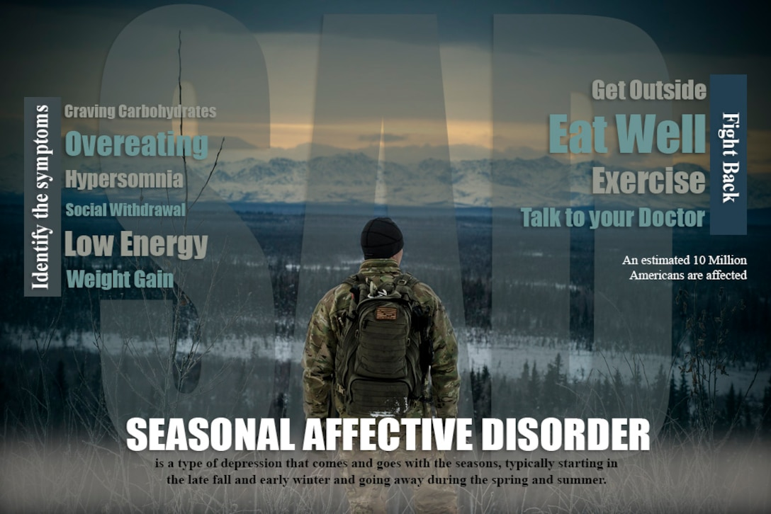 A seasonal affective disorder infographic to help identify symptoms and provide a few tips to combat the wintertime blues.