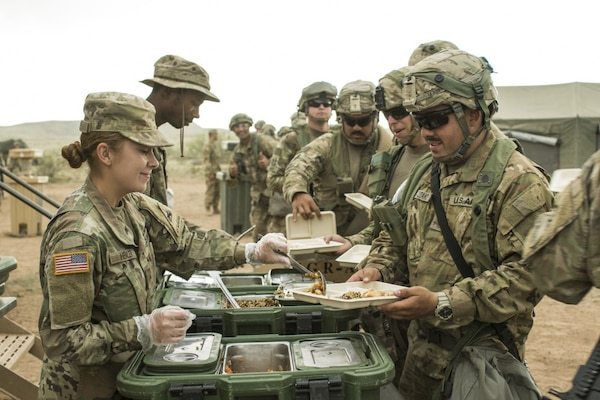 Soldiers assigned to 1st Armored Division receive meals during the Iron Focus exercise. In addition to physical exercise, proper nutrition plays a major role in overall health, fitness, and training for the Army Combat Fitness Test, says an Army dietitian.