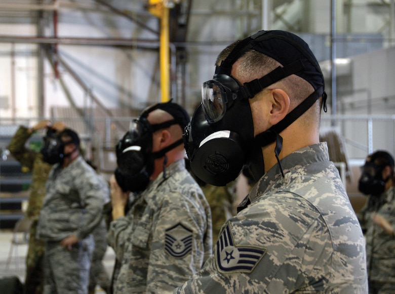 Airmen with the 445th Airlift Wing participate in chemical, biological, radiological and nuclear (CBRN) training Oct. 6, 2019, at Wright Patterson Air Force Base, Ohio. CBRN training equips airmen with the skills needed to operate in an environment that has been corrupted by chemical, biological, radiological or nuclear contaminants. The training involves the use of the M50 protective mask and other protective equipment, and the airmen involved with the training practice using this equipment to better prepare them to tackle the mission.