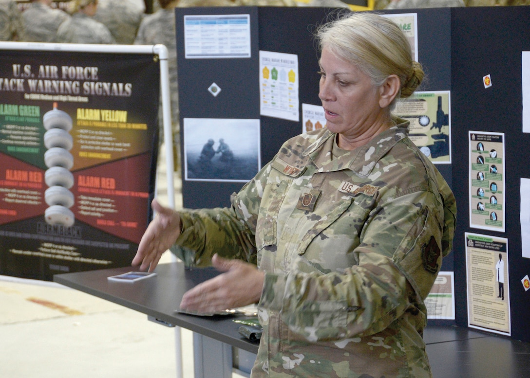 Master Sgt. Kathleen Wyatt, a chemical, biological, radiological and nuclear (CBRN) trainer with the 445th Civil Engineering Squadron emergency management staff, assists in mass CBRN training on Oct. 6, 2019, at Wright Patterson Air Force Base, Ohio. CBRN training equips airmen with the skills needed to operate in an environment that has been corrupted by chemical, biological, radiological or nuclear contaminants.