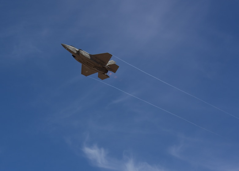 An F-35A Lightning II performs a demonstration of force for Luke Air Force Base honorary commanders Nov. 14, 2019, at the Barry M. Goldwater Range, Ariz.