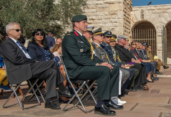 Representatives and dignitaries from governments around the world gather to honor the 100th anniversary of Volkstrauertag, People's Day of Mourning, at a German World War I cemetery in Nazareth, Israel, November 17, 2019. The representatives paid homage to victims of violence and oppression everywhere. (U.S. Air Force photo by Airman 1st Class Kyle Cope)