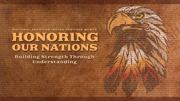 The Department of Defense 2019 National American Indian Heritage Month poster depicts an auburn and brown background of varying shades. At the top of the poster is a medium-dark brown header. The names of the 573 Indian and Alaskan federally recognized tribes maintained by the Bureau of Indian Affairs, Department of the Interior fills the entire background of the poster in dark brown text. These tribal names can be seen through all the lettering on the poster as well as the primary image at the center.