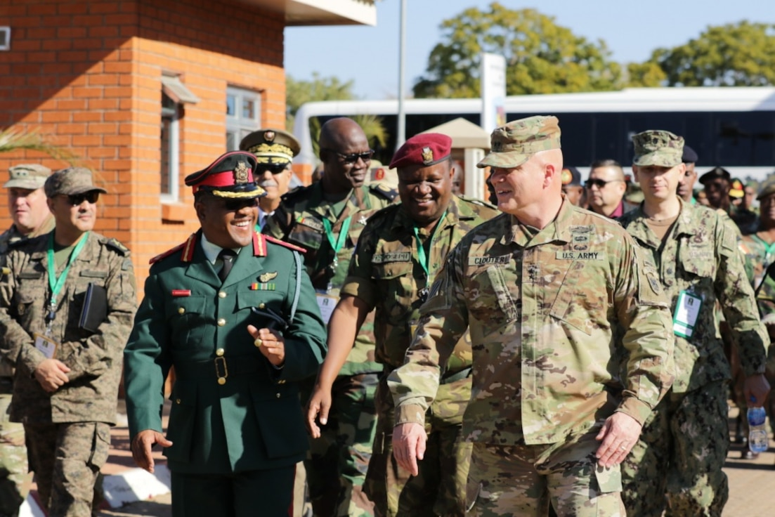 Maj. Gen. Roger L. Cloutier, U.S. Army Africa commanding general attends a military demonstration during the African Land Forces Summit 2019, Gaborone, Botswana, June 25, 2019. ALFS is a four-day seminar that brings together land forces chief across Africa to discuss topics of common interest.