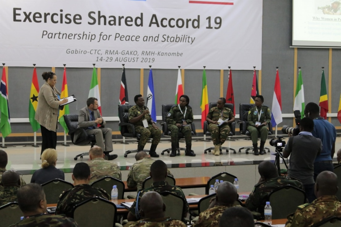 "A ""Women, Peace and Security Conflict"" panel was conducted during the Shared Accord 2019, Gabiro, Rwanda, Aug. 16, 2019. The panel was composed of female African partner servicemembers from Rwanda, Uganda and Zambia. They discussed the importance of women in peacekeeping operations in Africa and the role they play in child protection. Shared Accord 2019, which runs Aug. 14- 28, is focused on bringing together U.S. and Rwandan forces, African partner militaries, allies and international organizations to increase readiness, interoperability, and partnership building between participating nations for peacekeeping operations in the Central African Republic. (U.S. Army photo by 1st Lt. Ian B. Shay)"
