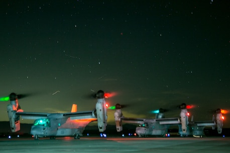 U.S. Marines with Weapons and Tactics Instructors Course 1-19, use MV-22B Ospreys