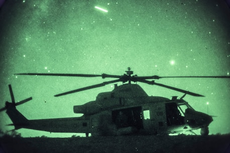 U.S. Marines assigned to Marine Light Attack Helicopter Squadron 269 utilize an UH-1Y Venom aircraft to transport infantry Marines with 1st Battalion, 3rd Marine Regiment, 3rd Marine Division